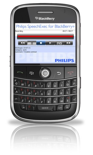 Philips SpeechExec digital recorder for BlackBerry