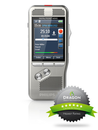 Philips DPM-8000 Digital Diktermaskine Dragon Speech Recognition