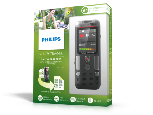 Philips DVT2700 diktafon med Dragon Speech Recognition embalalge